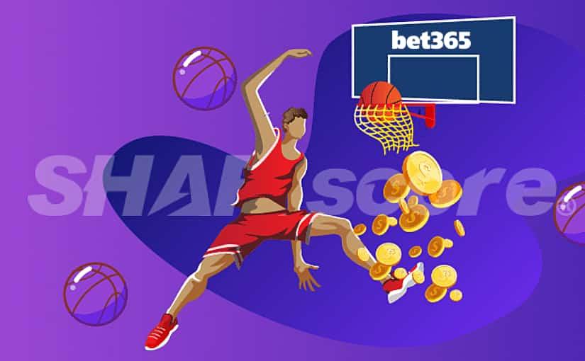 Jogador de basquete fazendo ponto em cesta com logo da Bet365