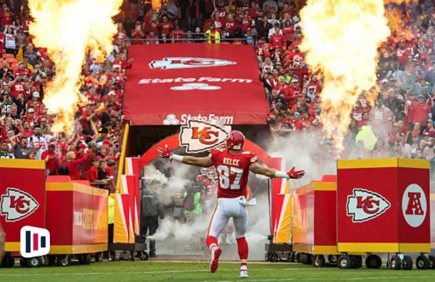 Jogador do Kansas City Chiefs durante uma partida da NFL