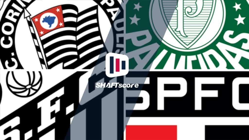 Imagem com os escudos de Corinthians, Palmeiras, Santos e São Paulo (Campeonato Paulista)