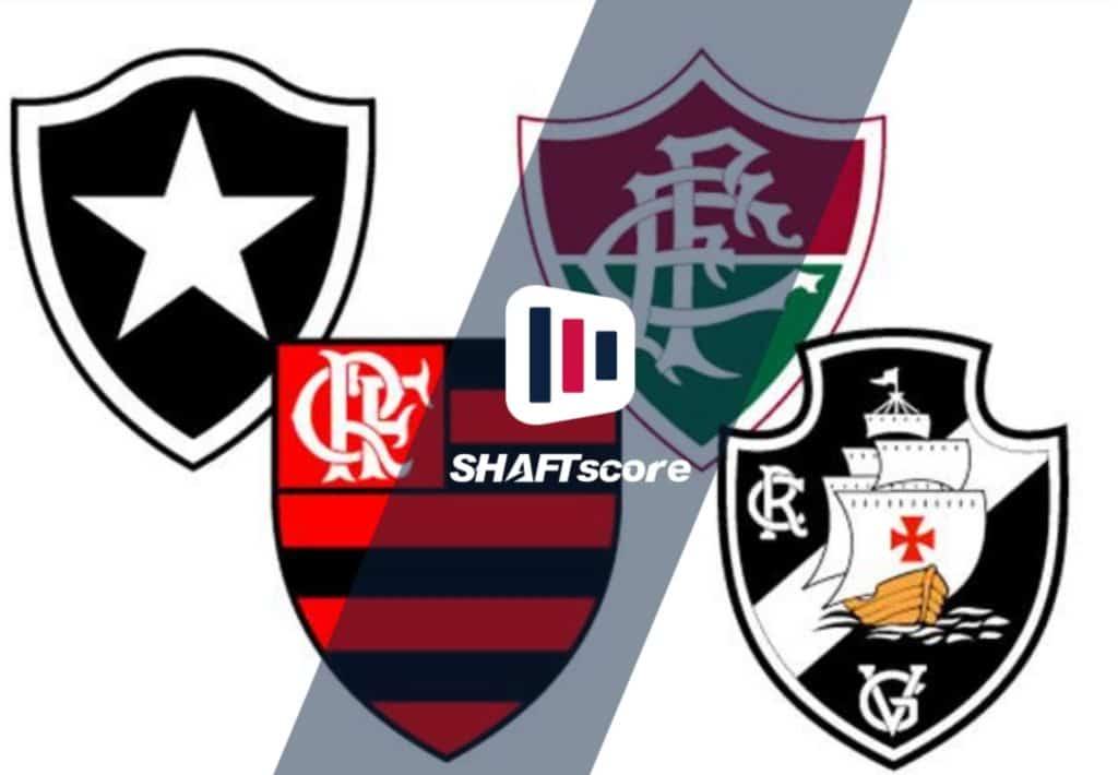 Imagem com os escudos de Flamengo, Vasco, Fluminense e Botafogo (Campeonato Carioca)