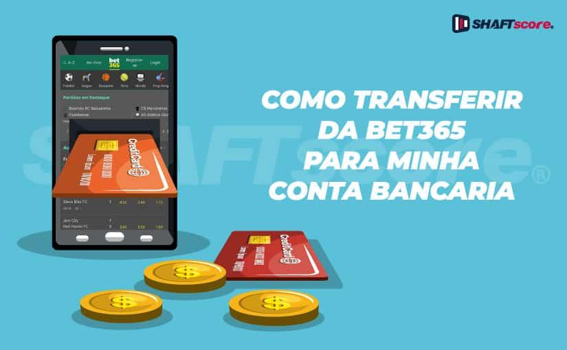 Cartão de conta bancária saindo de uma tela de celular aberto no site da Bet365
