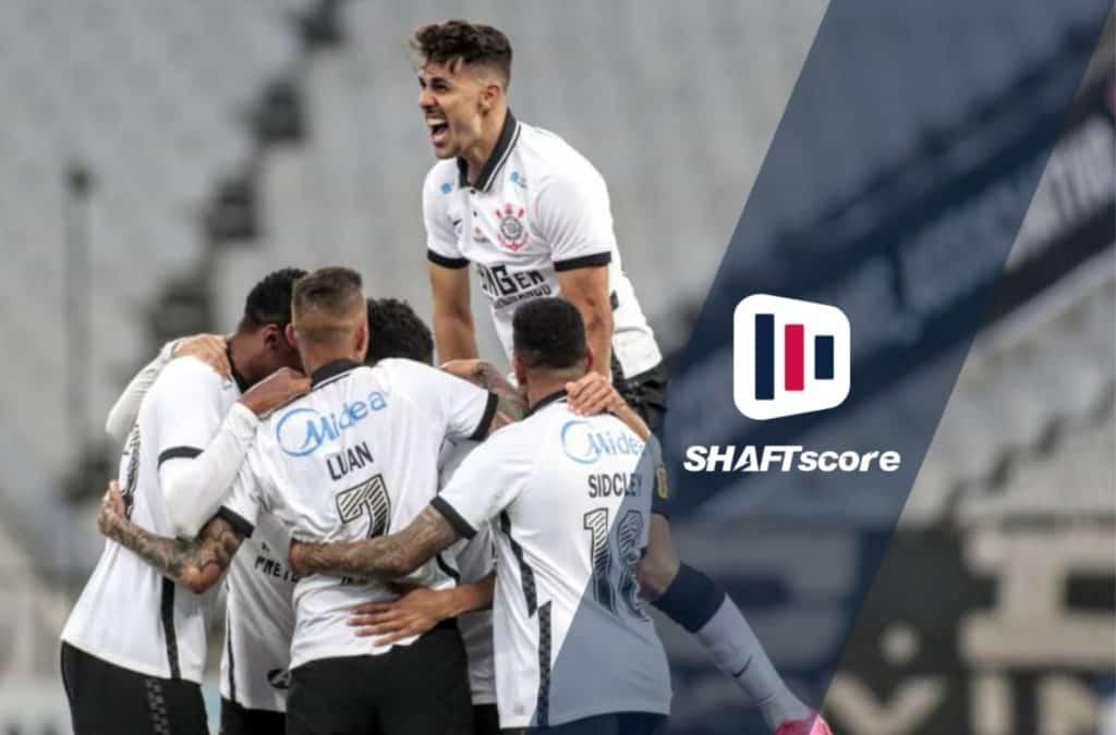 Jogadores comemorando gols Corinthians comemoram um gol