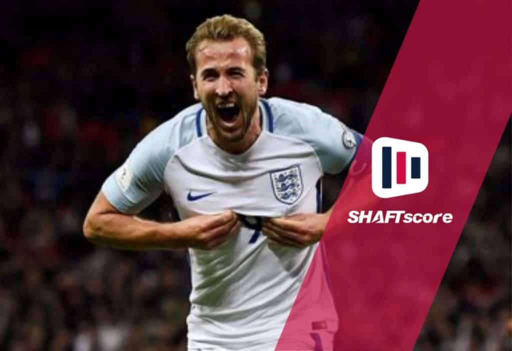 Harry Kane comemorando gol pela Seleção da Inglaterra