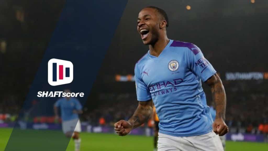 Um dos gols do Sterling pelo Manchester City