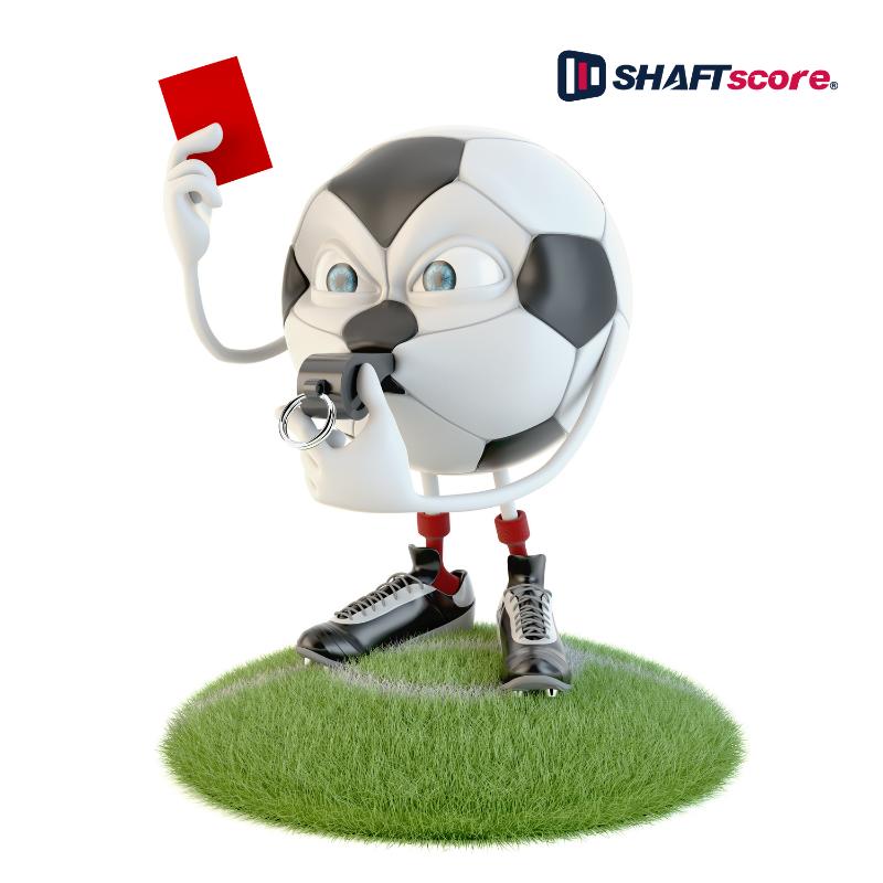 Desenho - Homenzinho em formato de uma bola de futebol aplicando cartão vermelho. Apostar em Cartões.