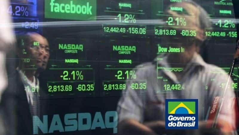 Bolsa de valores Nasdaq com logo do Governo do Brasil