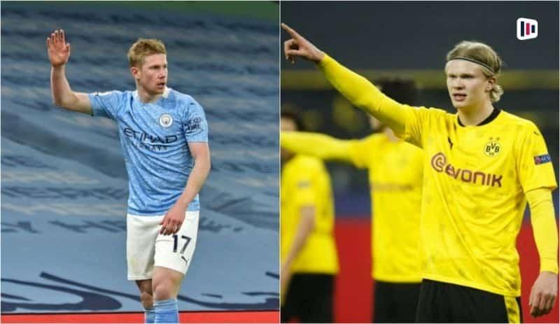 Craques De bruyne e Haaland em campo - Borussia Dortmund Manchester City