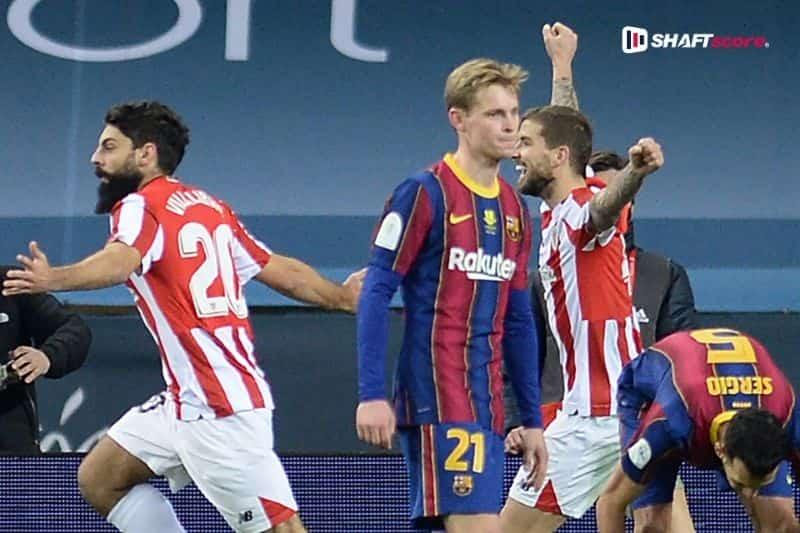 Craques do Athletic Bilbao e Barcelona em campo.
