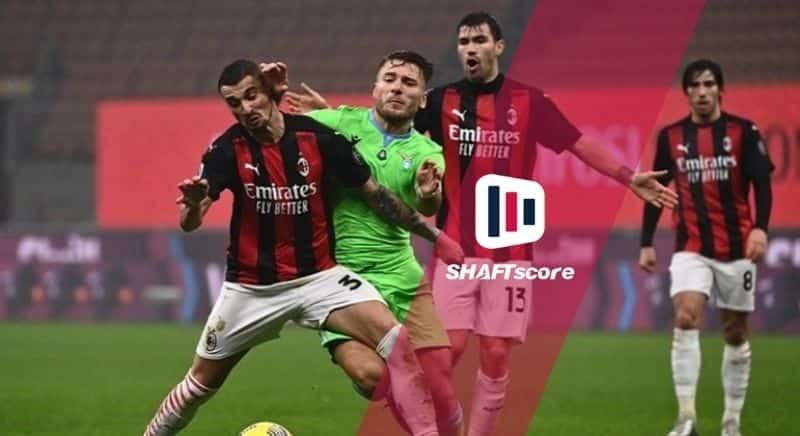 Jogadores do Lazio e Milan em campo.