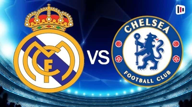 Escudos dos times Real Madrid e Chelsea.
