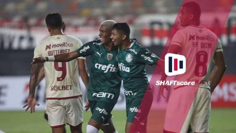 Jogadores do Palmeiras e Independiente.