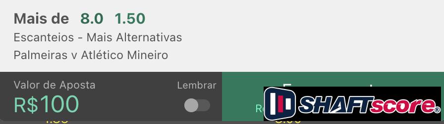 Palpite apostas em escanteios Palmeiras Atletico Mineiro Bet365.