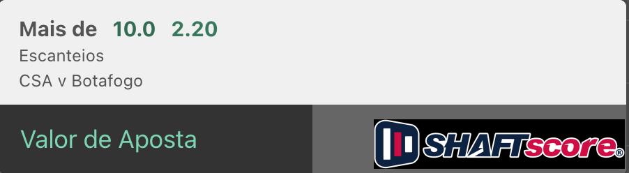 Palpite do dia, Botafofo CSA bilhete pronto mercado escanteios Bet365.