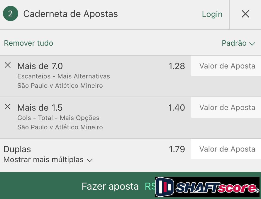 Bilhete pronto São Paulo Atlético Mineiro, palpite hoje gols e escanteios bet365.