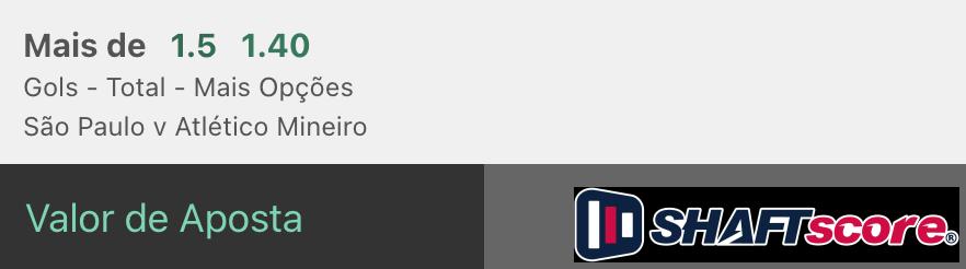 Bilhete pronto São Paulo Atlético Mineiro, palpite hoje gols bet365.
