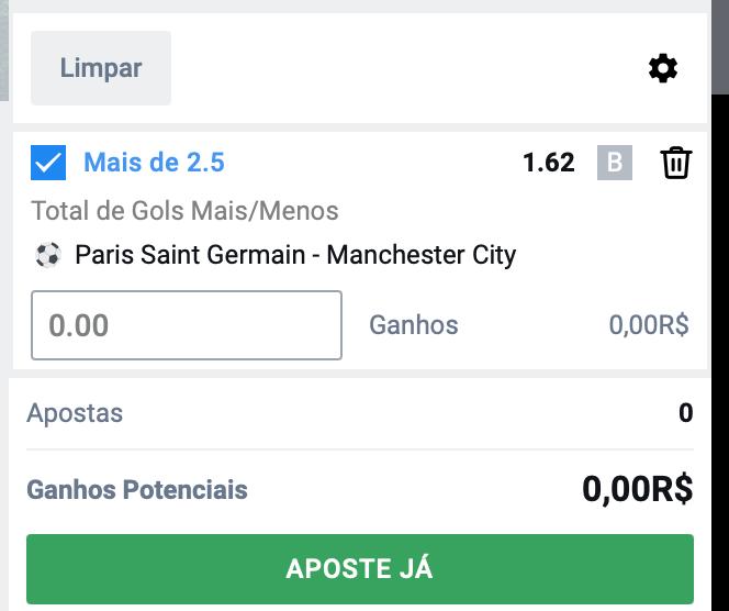 Bilhete pronto, Palpite hoje PSG Manchester City, aposta gols dicas bet365.
