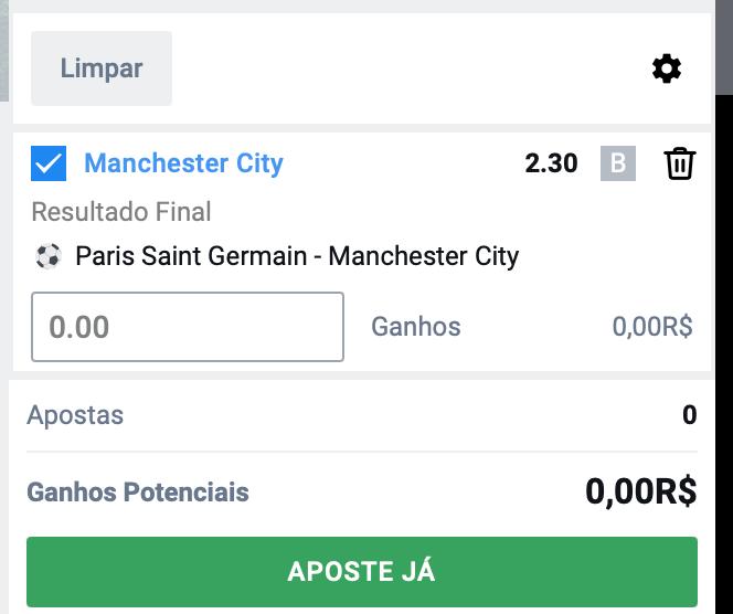 Bilhete pronto, Palpite hoje PSG Manchester City, aposta resultado final dicas bet365.