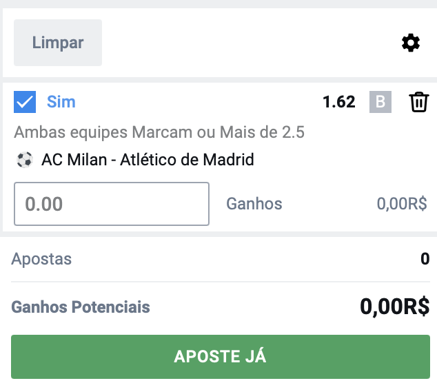 Bilhete pronto, Palpite hoje Milan Atlético de Madrid ambos marcam bet365.