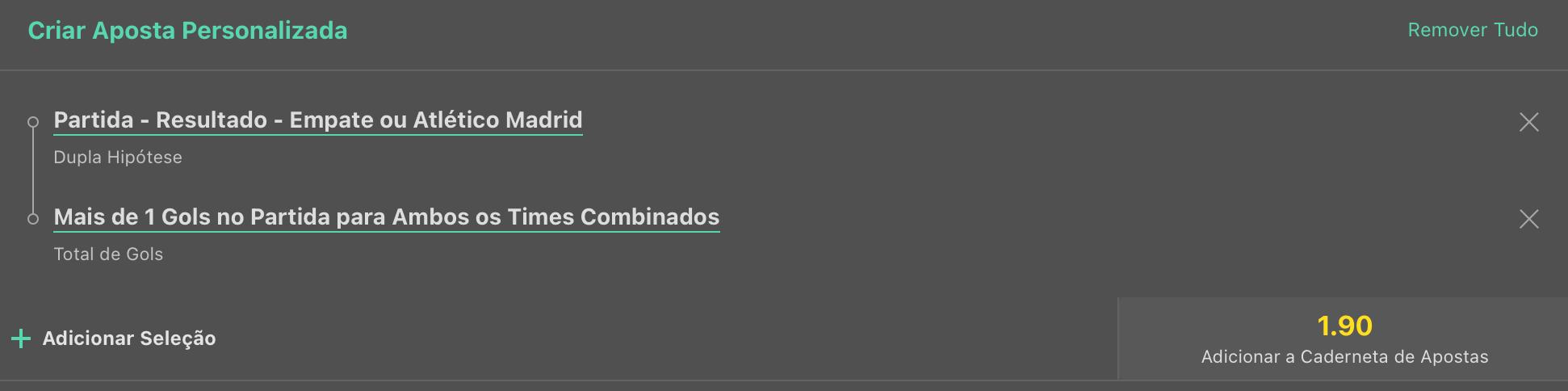 Bilhete pronto, Palpite hoje Milan Atlético de Madrid aposta dupla bet365.