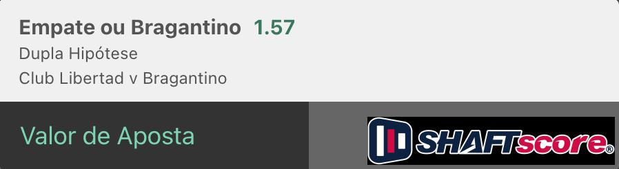 Bilhete pronto, palpite hoje  Libertad Red Bull Bragantino, aposta dupla hipótese bet365.