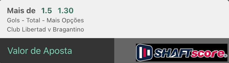 Bilhete pronto, palpite hoje  Libertad Red Bull Bragantino, aposta gols bet365.