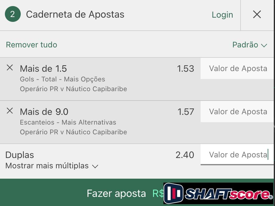 Bilhete pronto, palpite hoje Operário Ferroviário Náutico aposta dupla bet365.