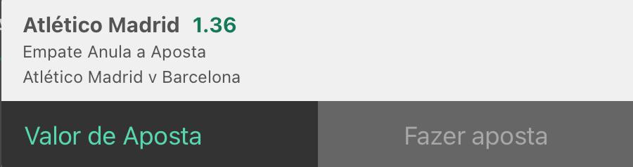 Bilhete pronto, palpite hoje Atlético Madrid Barcelona, empate anula aposta bet365.