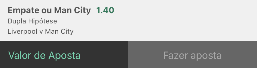 Bilhete pronto, palpite hoje Liverpool Manchester City, aposta chance dupla bet365.