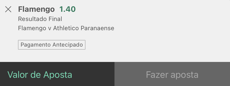 Bilhete pronto, palpite hoje Flamengo Athletico Paranaense, aposta resultado final bet365.