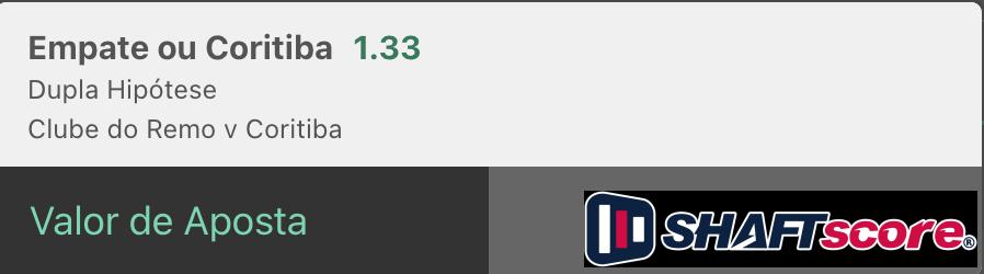 Bilhete pronto, palpite hoje Remo Coritiba, aposta dupla hipotese bet365.
