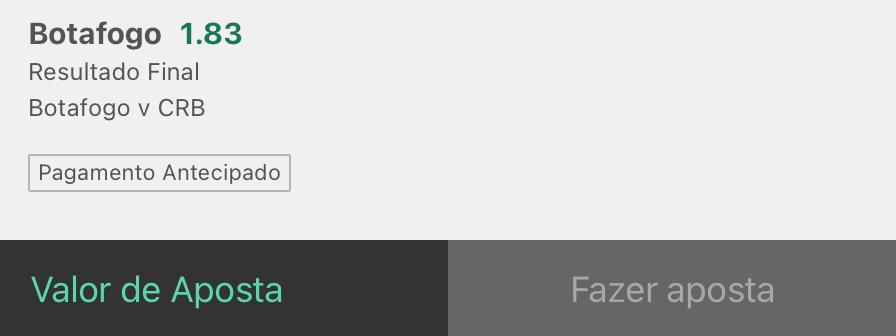 Bilhete pronto, palpite hoje Botafogo CRB aposta resultado final bet365.