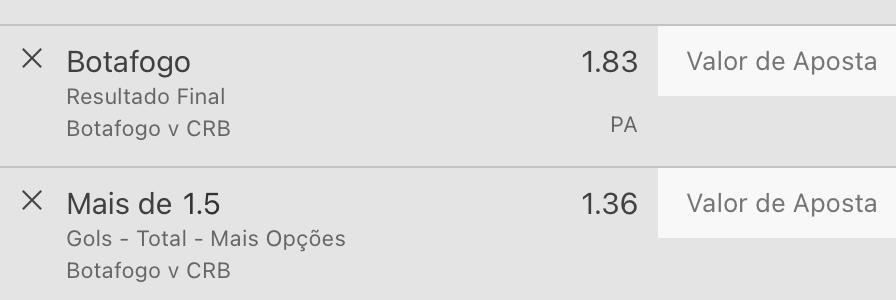Bilhete pronto, palpite hoje Botafogo CRB aposta dupla bet365.