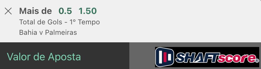 Bilhete pronto, palpite hoje Bahia Palmeiras aposta gols HT bet365.