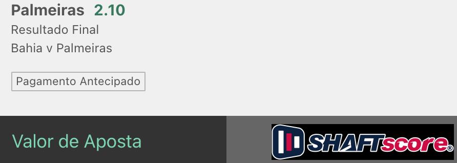 Bilhete pronto, palpite hoje Bahia Palmeiras aposta resultado final bet365.